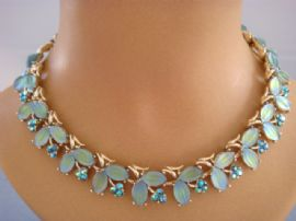 1960's  Vintage Coro Necklace -Green and Blue Leaves and Flowers- Unsigned Coro, USA Designer Necklace (SOLD)